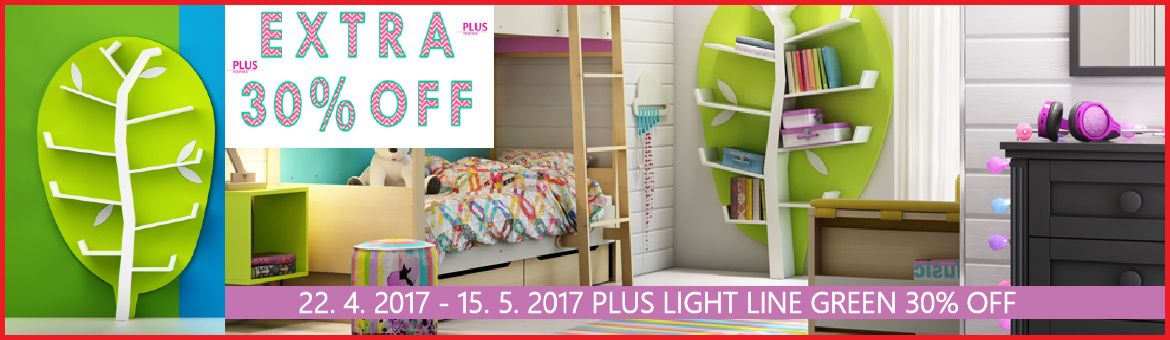Timoore - 30% na polici WOODshelf Light Line Green